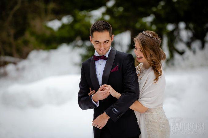 Вен и Поли – снежна сесия в сватбения ден